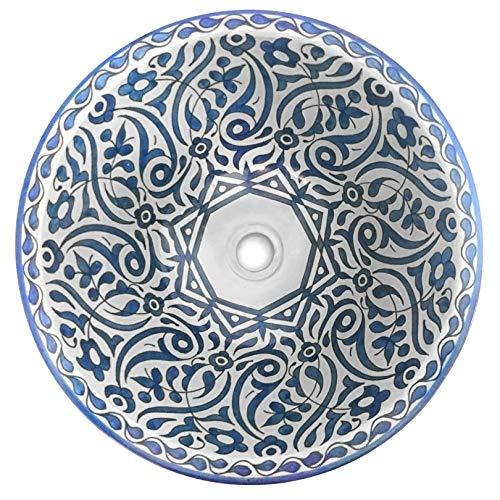 L'ORIENT Interior Marokkanisches Waschbecken | Flora | Blau | Ø:40cm | handbemaltes marokkanisches Waschbecken aus der Königsstadt FES