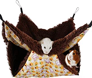 Tfwadmx Rat Double Hammock, Ferret Bunkbed Warm Fleece Hanging Bed Pet Cage Accessories Toys for Sugar Glider Degu Guinea Pig Gerbil Chinchilla Squirrel Hamster Mouse Mice(13.8x13.8 in)