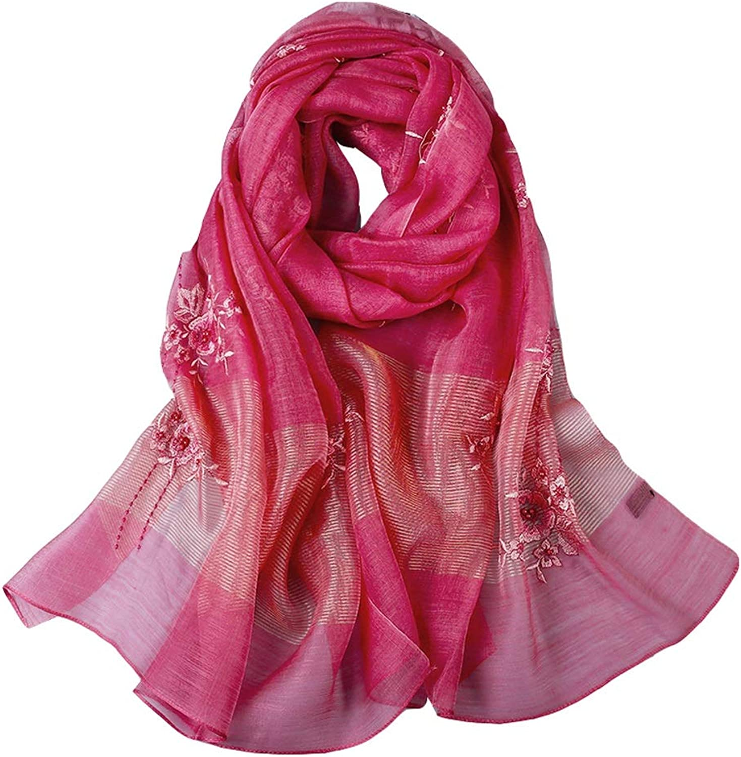 Women Ladies Silk Scarf Neck Predection Girl Embroidery Flower Lightweight Shawl Female Thin Section Sunscreen Scarves Mother Gifts (color   pink Red)