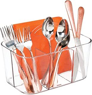 mDesign Plastic Cutlery Storage Organizer Caddy Bin - Tote with Handle - Kitchen Cabinet or Pantry - Basket Organizer for ...