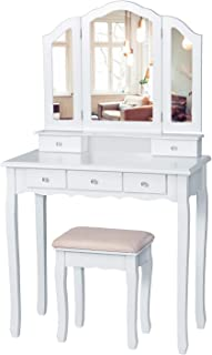 Tiptiper Vanity Set with Cushioned Bench, Makeup Vanity Table with Tri-Folding Necklace Hooked Mirror, Dressing Table with...
