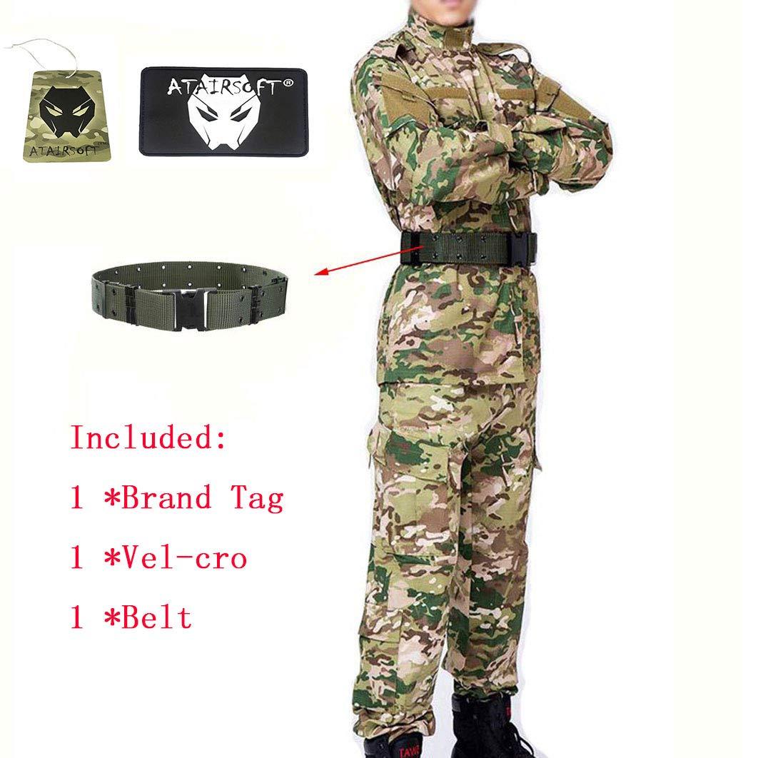 ATAIRSOFT Táctico Hombres BDU Combate Uniforme Chaqueta Camisa y pantalón Traje para el Juego de Guerra de Caza Militar Airsoft Paintball Militar Multicam,L: Amazon.es: Deportes y aire libre