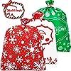 Whaline クリスマス用特大ギフトバッグ 36インチ x 44インチ クリスマス不織布プレゼント 特大ラッピングサンタクロース クリスマスサック 特大おもちゃ収納バッグ タグと紐付き クリスマスプレゼントに