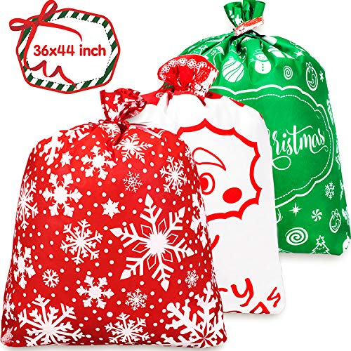 Whaline 3 PCS Christmas Giant Gift Bags 36' x 44' Xmas Non-Woven Present Extra Large Wrapping Santa Claus Christmas Sacks Oversized Toy Storage Bag with Tags & String Ties for Xmas Kids Presents