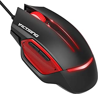 VicTsing Gaming Mouse Wired, 6 Programmable Buttons, 3200 DPI Adjustable, Optical Gamer Gaming Mice with 7 Breathing Lights, Comfortable Grip Ergonomic Optical PC Computer Gaming Mouse - Black