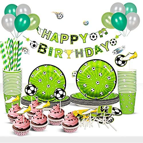 FORMIZON Decoraciones de Fiesta Temáticas de Fútbol, Futbol Cumpleaños Conjunto de Suministros, Kit de Vajilla de Cumpleaños de Futbols, Para Fanáticos Del Fútbol Fiesta de Cumpleaños