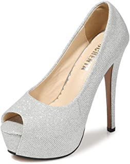 Women's Peep Toe Platform High Heel Dress Pumps
