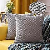 MIULEE 2er Set Granulat Kissenbezug Ananas Weiches Massiv Dekorativen Quadratisch Überwurf Kissenbezüge Kissen für Sofa Schlafzimmer Auto 20'x20', 50 x 50 cm Hellgrau