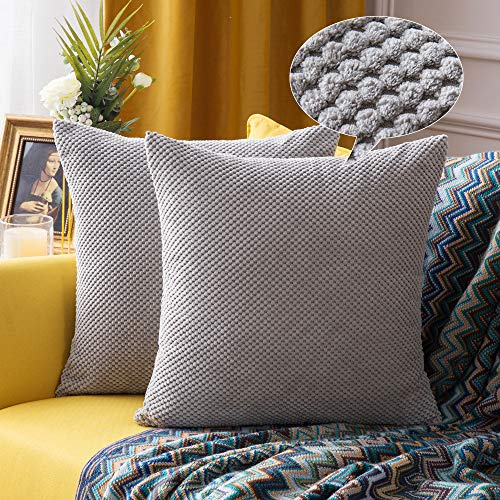 MIULEE Corduroy Cushion Cover Fabric Granule Throw Pillow Case Square Solid Home for Sofa Chair Couch Bedroom Decorative Pillowcases 22x22 inch 55x55cm 2 Pieces Silver