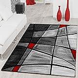 Alfombras de salón de contorno de pelo corto en gris, rojo y negro, 160 x 230 cm