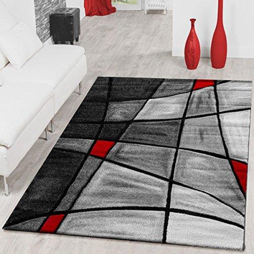 Alfombras de salón de contorno de pelo corto en gris, rojo y negro, 120 x 170 cm