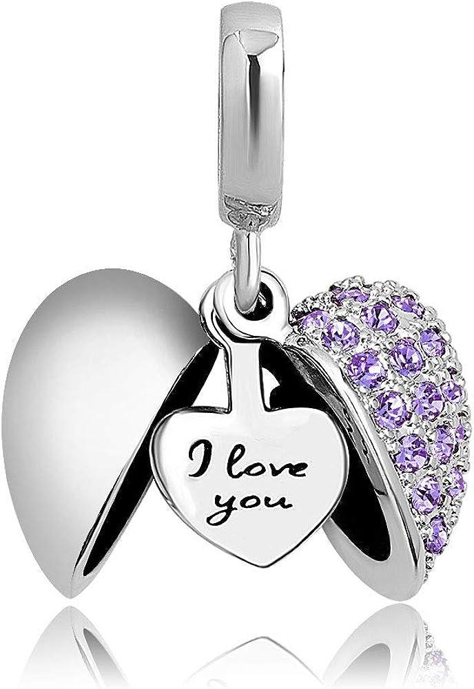 KunBead I Love You Heart Birthstone Charms for Bracelets Birthday Gift for Grandma Sister Mom Best Friend