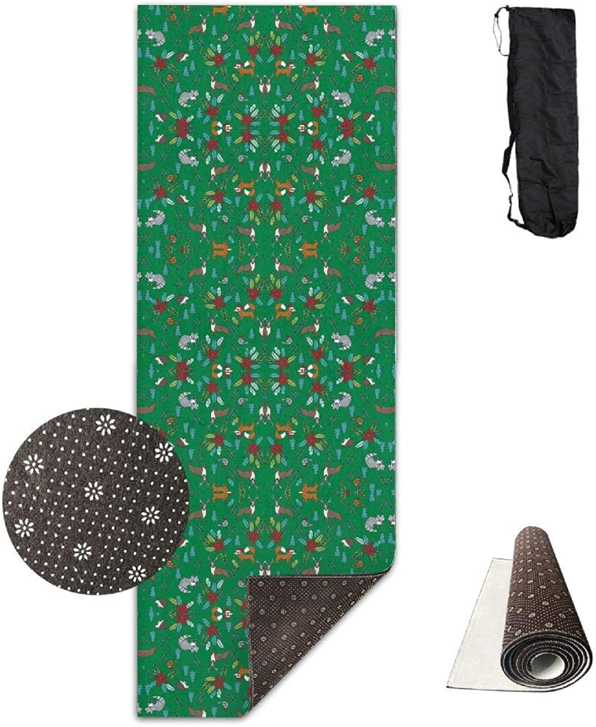 70Inch Long 28Inch Wide Comfort Velvet Yoga Mat, Christmas Woodland Cute Xmas Christmas Fabri(3755) Mat Carrying Strap & Bag