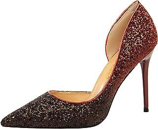 8833841014e34 HQY Chaussures Glitter Escarpin Talon Aiguille Haut Femme Pointu Dégradé  Sexy High Heels Stiletto Pumps Shoes