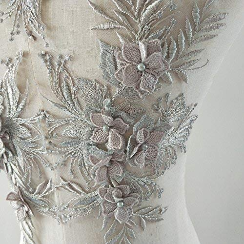 Apliques de encaje 3d Motivos de parches Lentejuelas Diamante Beads Trim Ideal para bricolaje Costura artesanal Sastrería Boda nupcial 3 en 1 plata