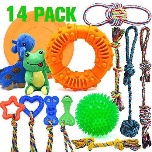 LEGEND SANDY Dog Chew Toys for Puppies Teething, Super Value 14 Pack Puppy Toys for Small Dog Toys Squeaky Toys for Dogs Rubber Ball Dog Rope Toy Durable Pet Toys for Dogs Interactive Plush Dog Toys