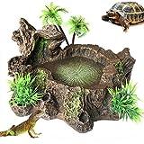 PINVNBY Plataforma de Resina para Reptiles Artificiales, para decoración de Tanques de Reptiles, Cuenco de Agua, para dragón Barbudo, Lagarto, Gecko, Rana de Agua, Serpiente