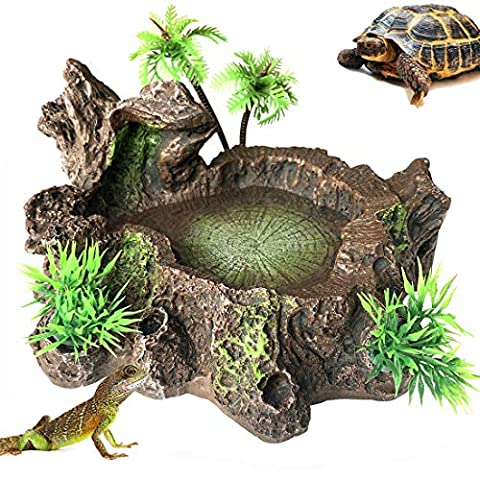 Reptile Platform Artificial Tree Trunk Reptile Tank Decor Food Water Dish Bowl
