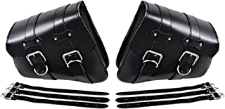 For Harley Sportster XL883 XL1200 Black PU Leather Solo Swing Arm Saddlebag (Left & Right)