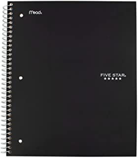 """Five Star Spiral Notebook, 1 Subject, Graph Ruled Paper, 100 Sheets, 11"""" x 8-1/2"""", Black (73679)"""