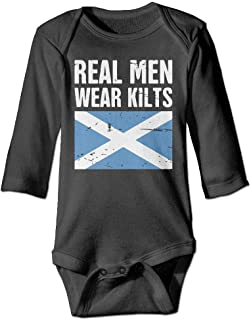 Scottish Flag Real Men Wear Kilts Printed Newborn Infant Baby Girls Long-Sleeved Bodysuit Jumpsuit Outfits