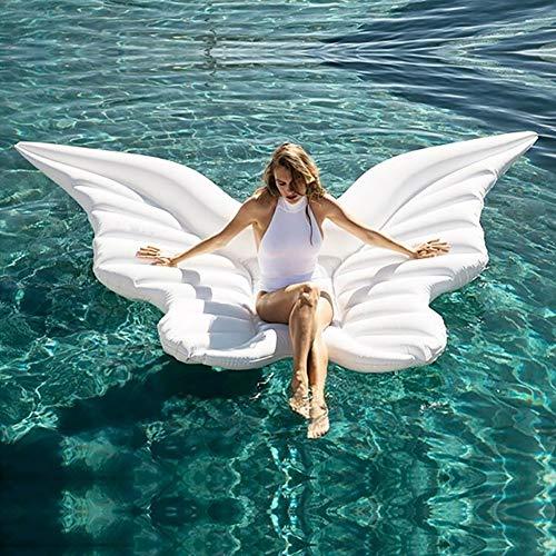SLCE Colchonetas Piscina Hinchable Alas De Angel, Flotador Inflable Hamaca De Agua Flotante para Piscina, PVC Gigante Piscina Inflable Balsa Flotante Piscina, 250X180cm,Blanco