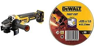 Dewalt DCG405N 18V XR Brushless 125mm Angle Grinder, Multi-Colour & DT3507-QZ Lata con 10 discos Corte de Alto desempeño p...