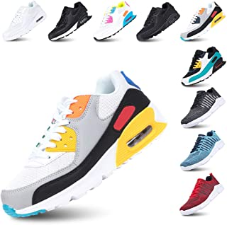 Chaussure de Course Femme Basket Running Homme Lacets Fitness Sports Sneakers Basses Mode Casual Respirant Maille Noir Ble...