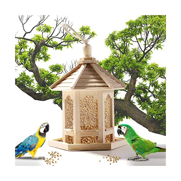❤️❤️ AMhomely (Clearance sale)❤️❤️ Bird Feeding Station Wooden Bird Feeder Hanging for Garden Yard Decoration Hexagon Shaped With Roof Hanging Lantern Bird Seed & Nut Feeder