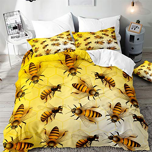 Duvet Cover Set for Single Double Super King Size Bed, Morbuy 3D Bee Printed Microfiber Bedding Sets Duvet Set with Pillowcases and Quilt case (Yellow,Super King-220x260cm)