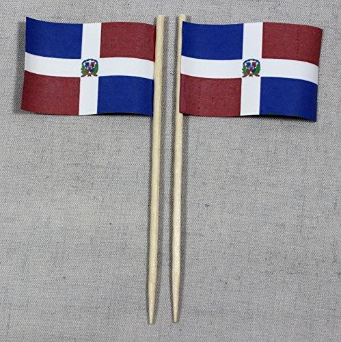 Buddel-Bini Party-Picker Flagge Dominikanische Republik Papierfähnchen in Spitzenqualität 50 Stück Beutel