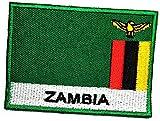 Bestickter Aufnäher mit Flagge von Sambia, Militäruniform, Emblem, Nationalflagge, Stickerei, zum Aufbügeln oder Aufnähen, Logo, Jacke, Polo, T-Shirt, Hut, Rucksäcke (09)
