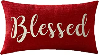 NIDITW Nice Gift Inspirational Blessed Words Waist Lumbar Red Cotton Linen Throw Pillow case Cushion Cover for Sofa Home Decorative Oblong 12x20 Inches