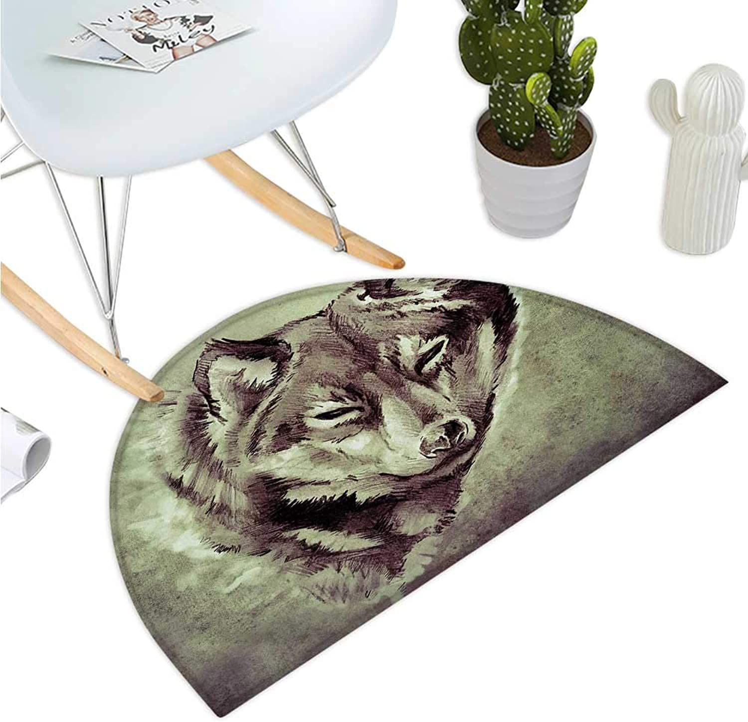 Tattoo Half Round Door mats Head of Wolf The Fierce Warrior Big Dog of The Forest Winter Season Theme Image Entry Door Mat H 39.3  xD 59  White and Black