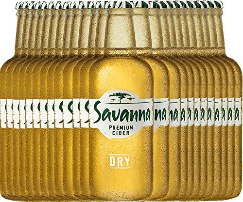 VINELLO 24er Cider-Paket - Savanna Premium Dry Cider mit einem VINELLO.weinausgießer | südafrikanischer Cidre | perfekt für den Sommer | 24 x 0,33 Liter