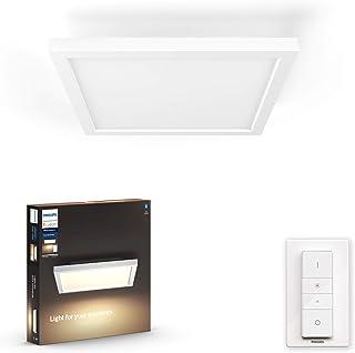 Philips Hue Aurelle Plafón / Lámpara Inteligente LED blanca cuadrada con Bluetooth, Luz Blanca de Cálida a Fría, Compatible con Alexa y Google Home