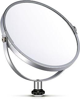 Neewer 両面鏡 拡大鏡 化粧鏡 6 in/15.2 cm 円形 14 inのリングライト 自撮り 化粧 ポートレート用アダプタ付