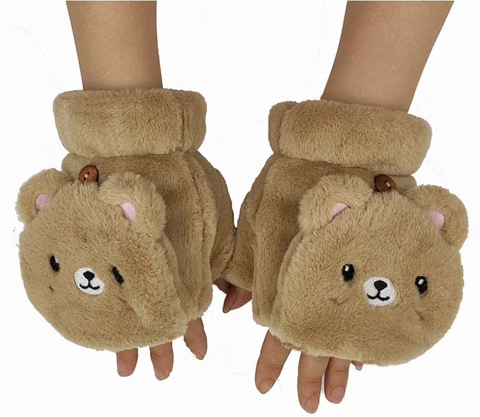 GHCXY Gloves,Female Accessories Touch Screen Cartoon Panda Half Finger Flip Driving Warm Cold Protection,a
