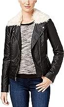 Celebrity Pink Women's Jr Faux-Fur-Collar Faux-Leather Jacket Black White Large