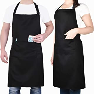 Will Well 2 Pack Adjustable Bib Apron, Water Oil Stain Resistant Cooking Kitchen Aprons with 2 Pockets for Women Men Chef, Black