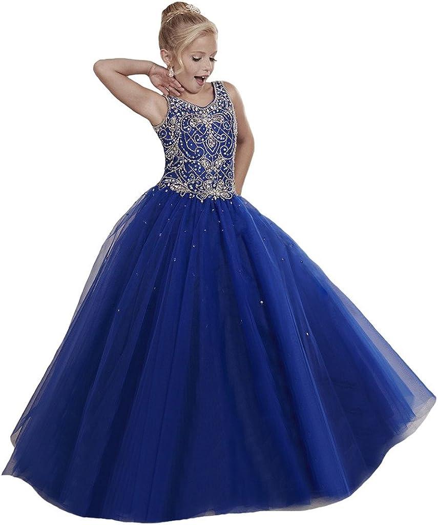 Dexin Flower Luxury goods Girls' Princess Beaded Tulle Long Dresses Pageant Super intense SALE