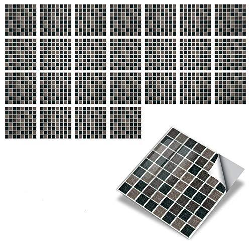 25 hojas Serie Mosaico Pegatinas de Baldosas Autoadhesivo Placa para Salpicaduras de Cocina , Vinilo azulejos Baldosas de pared de baño,Mosaico marrón,10x10cm