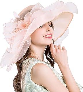 Women's Organza Church Derby Hats - Aolvo Anti-UV Sinamay Fascinator Kentucky Hats Vintage Bridal Tea Party Wedding Hat Summer Oversized Beach Hat with Ruffles Wide Brim for Women Lady Girls, Pink