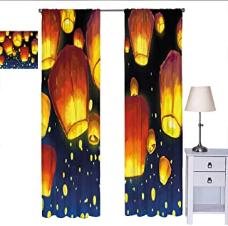 Lantern Country Curtain Floating Fanoos Like Devices on Sky Festive Auspicious Asian Culture Chinese Wall Curtain Dark Blue Orange W72 x L84