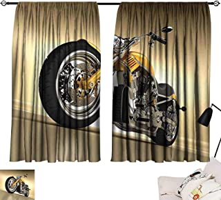 Thermal Insulated Room Darkening Window Shade Motorcycle,Iron Custom Aesthetic Hobby Motorbike Futuristic Modern Mirrors Riding Theme,Yellow Silver 72