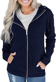 Womens Casual Zip up Long Sleeve Hooded Sweatshirt Jacket Coats