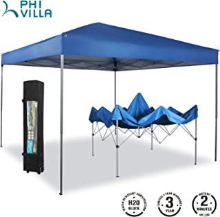 PHI VILLA 10`x10` Striaght Leg UV Block Sun Shade Canopy with Hardware Kits, Shade for Patio Outdoor Garden Events, Blue