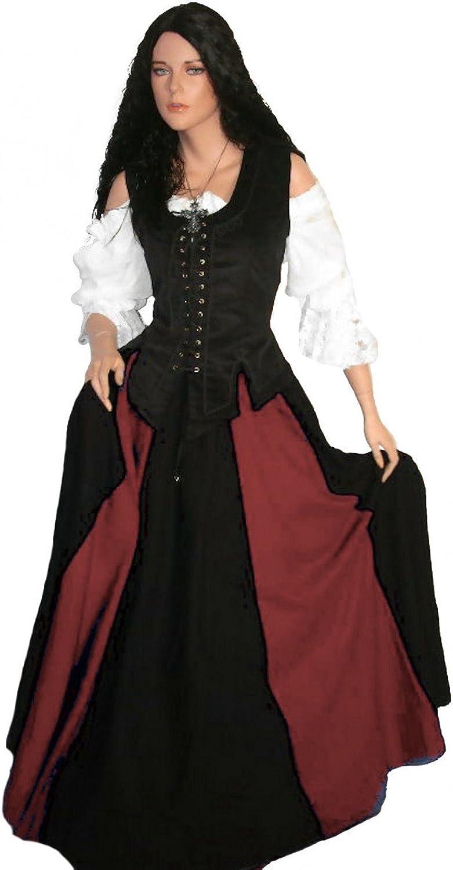 Dark Dreams LARP Mittelalterkleid Mittelalter Gewand Kleid Mieder Rock Blause Brighid 36 38 40 42 44 46, Farbe schwarz rot, Gre M
