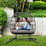 NICESOUL 2 Persons Luxury Outdoor Patio Wicker Loveseat Hanging Chair Swing Hammock Egg Chairs UV Resistant Cushions with Aluminum Frame 450lbs Capaticy for Patio Backyard Balcony (Grey-2 Seats)