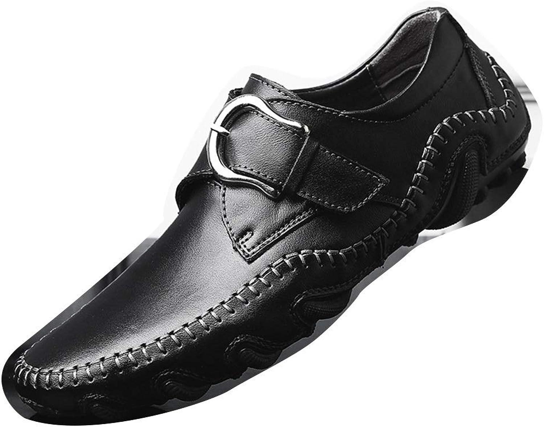 Leather Dress shoes Fashion Casual shoes Loafers Summer Men's shoes Octopus Peas shoes (color   Black, Size   41)